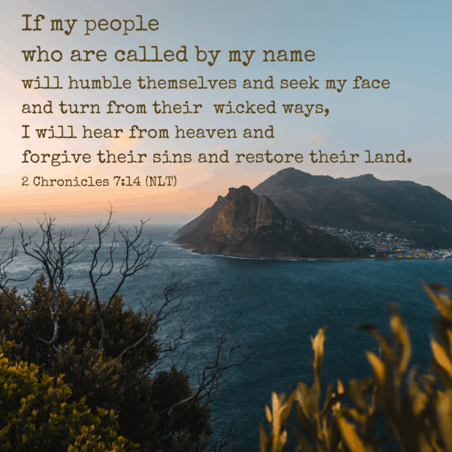 If my people who are called by my name will humble themselves and seek my face and turn from their wicked ways, I will hear from heaven and forgive their sins and restore their land (2 Chronicles 7:14 NLT).
