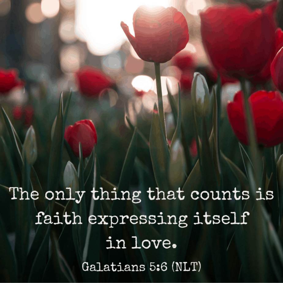 The only thing that counts is faith expressing itself in love (Galatians 5:6 NLT).
