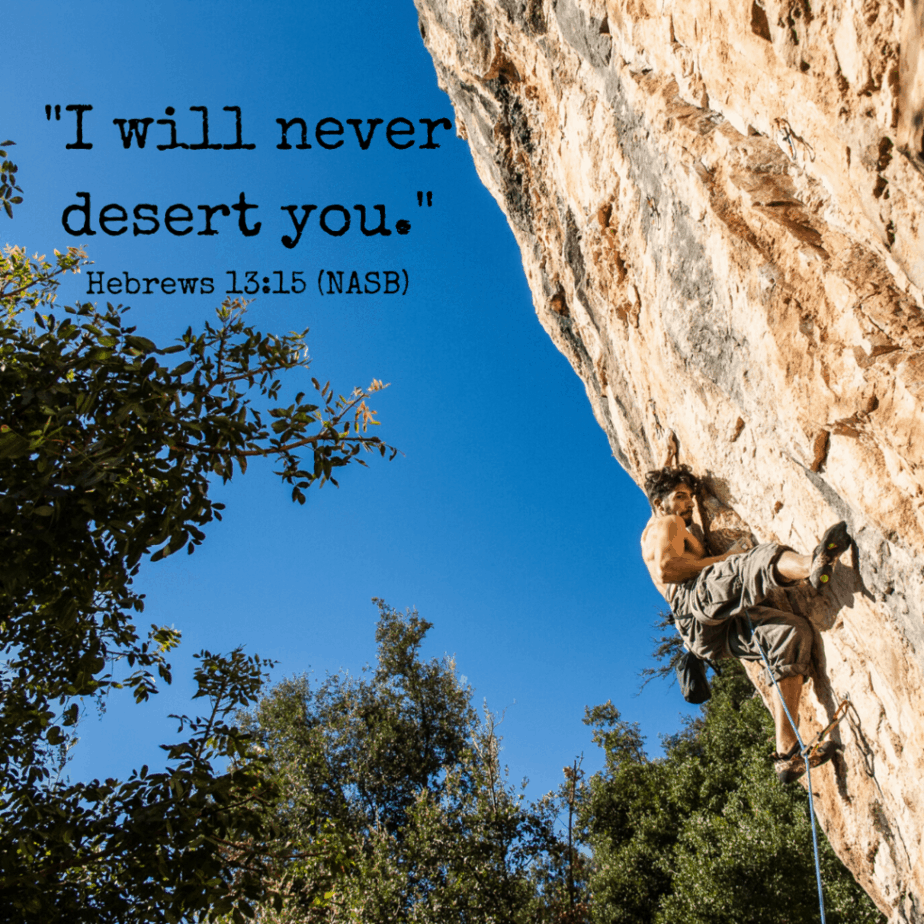 I will never desert you. Hebrews 13:15 (NASB)