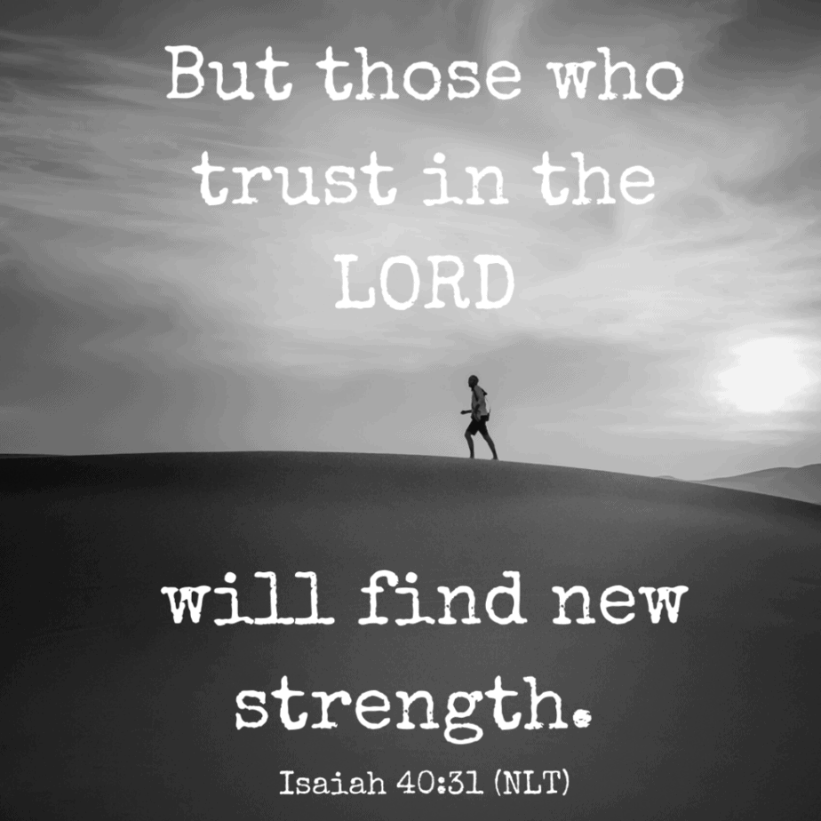 But those who trust in the LORD will find new strength. Isaiah 40:31 (NLT)
