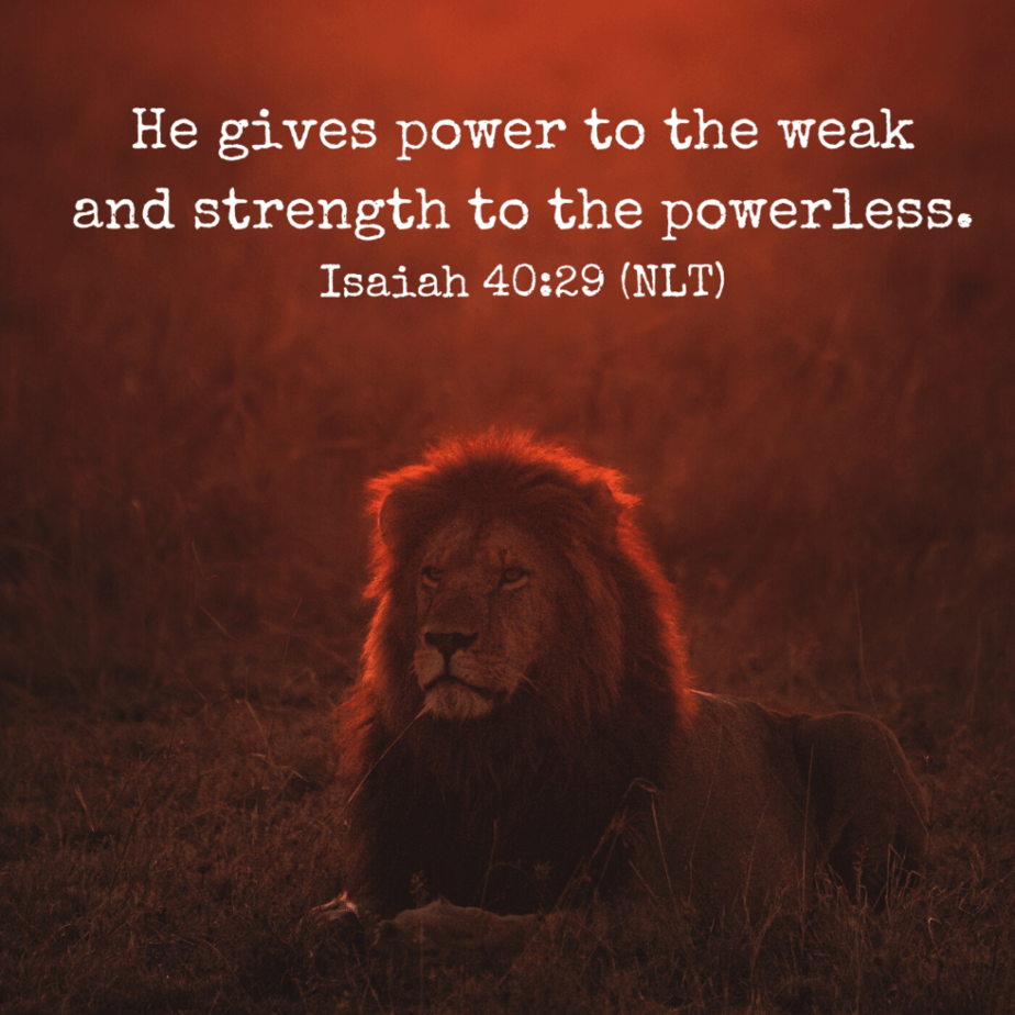 He gives power to the weak and strength to the powerless. (Isaiah 40:29 NLT).