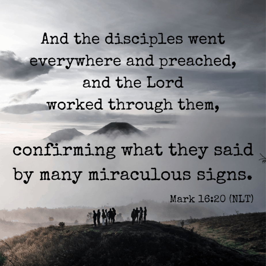 And the disciples went everywhere and preached, and the Lord worked through them, confirming what they said by many miraculous signs. Mark 16:20 (NLT)