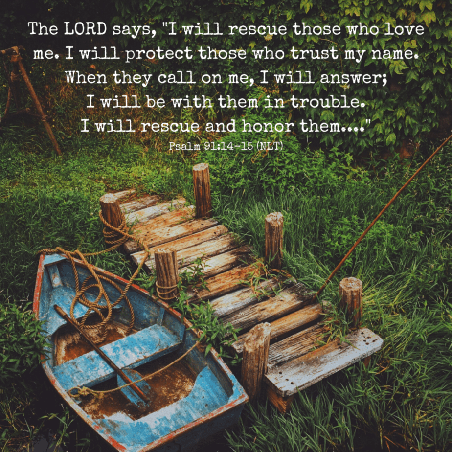 """The LORD says, """"I will rescue those who love me. I will protect those who trust my name. When they call on me, I will answer; I will be with them in trouble. I will rescue and honor them..."""" Psalm 91:14-15 (NLT)"""