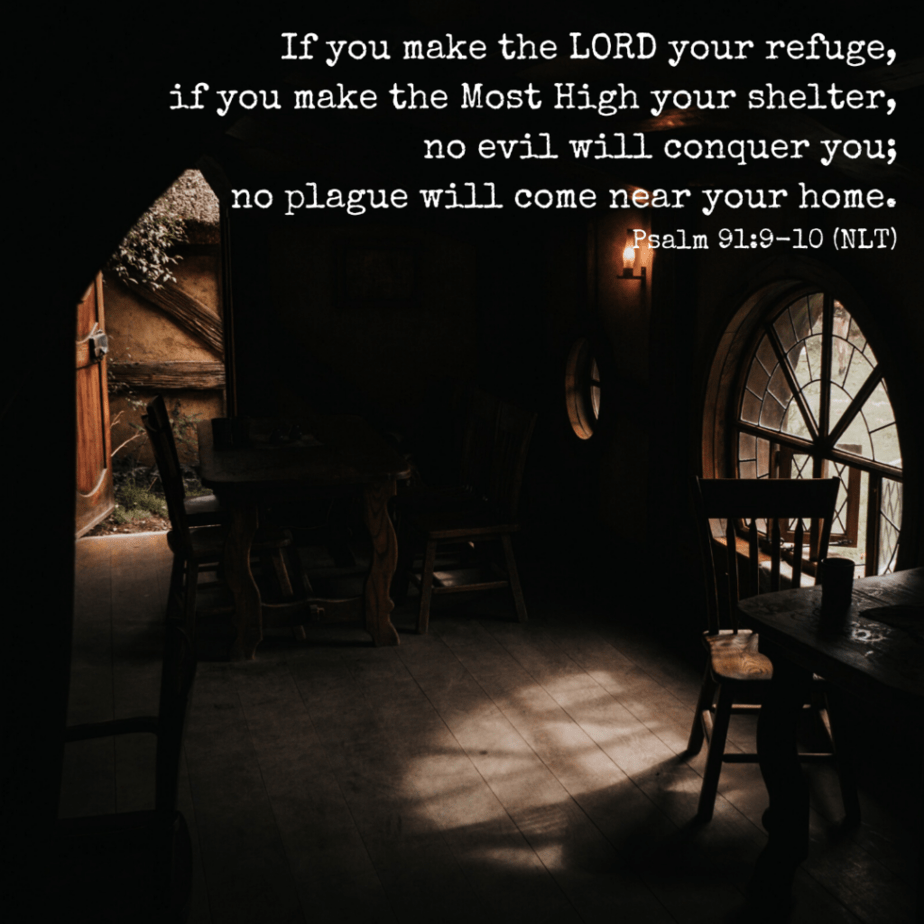If you make the LORD your refuge, if you make the Most High your shelter, no evil will conquer you; no plague will come near your home. - Psalm 91:9-10 (NLT)