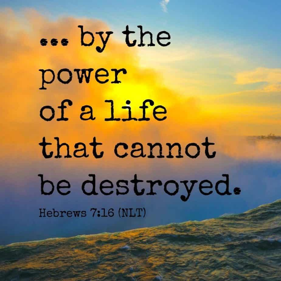 by the power of a life that cannot be destroyed. Hebrews 7:16 (NLT)