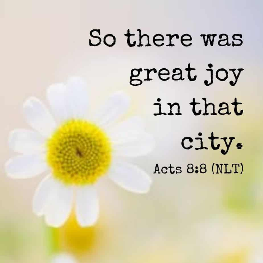 So there was great joy in that city. - Acts 8:8 (NLT)