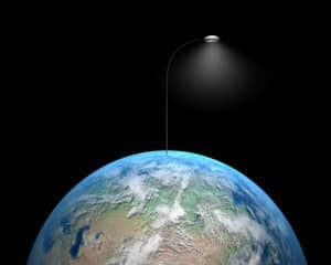 image of earth with a lamp